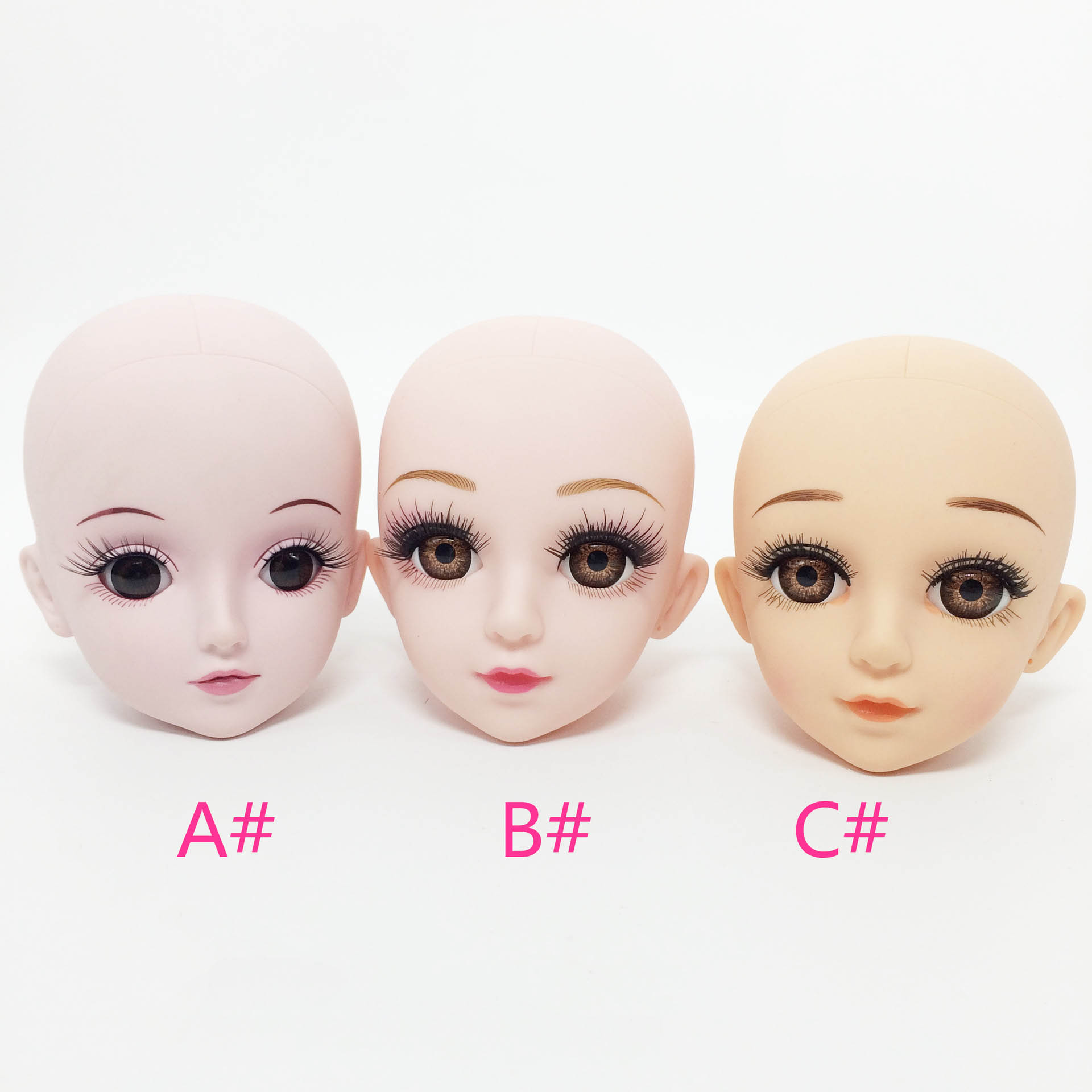 Bald 60cm Bjd Doll Head Makeup DIY Toys For Girl Children Changeable Eye 18 Inch Doll Accessories