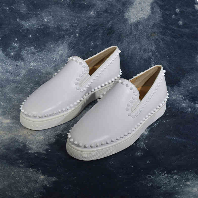 Spikes White Mens Shoes Fashion Dress Retro Shoes Red Bottoms Designer Sneakers Slip On Low Top Casual Shoes Men Smoking Shoes