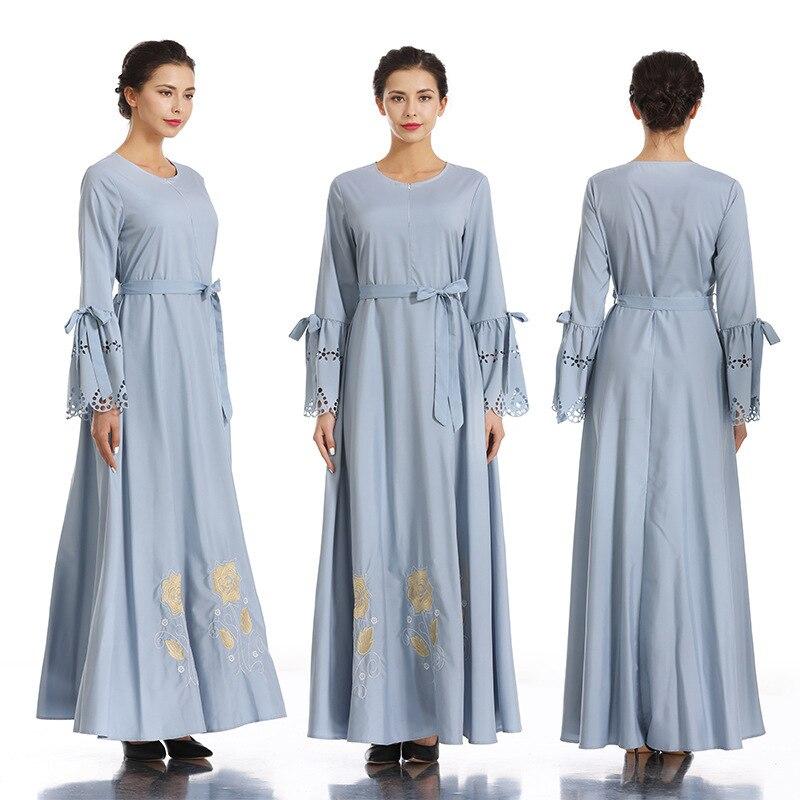 Brodé hijab robe Nation musulmane robe complète jupe Longuette Ash robe femme dinde elbise indonésie marocain eau abaya - 2