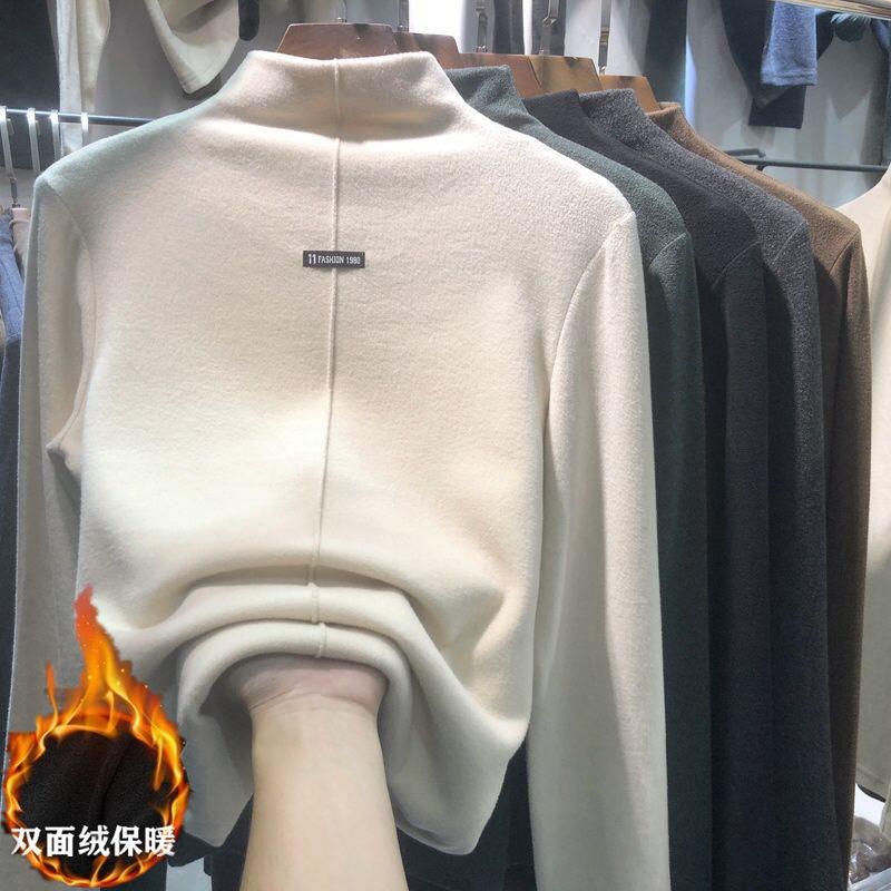 2020 двойная велюровая полукруглая футболка для женщин на осень и зиму с плюшевой и утолщенной футболкой