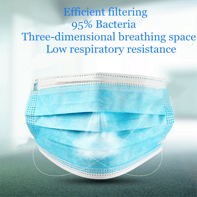 60 Pcs Profession Anti-Bacterial Surgical Face Masks 3 Ply Elastic Ear-Loop Prevent Flu Protect Nose Mouth Masks Dust-Proof 3