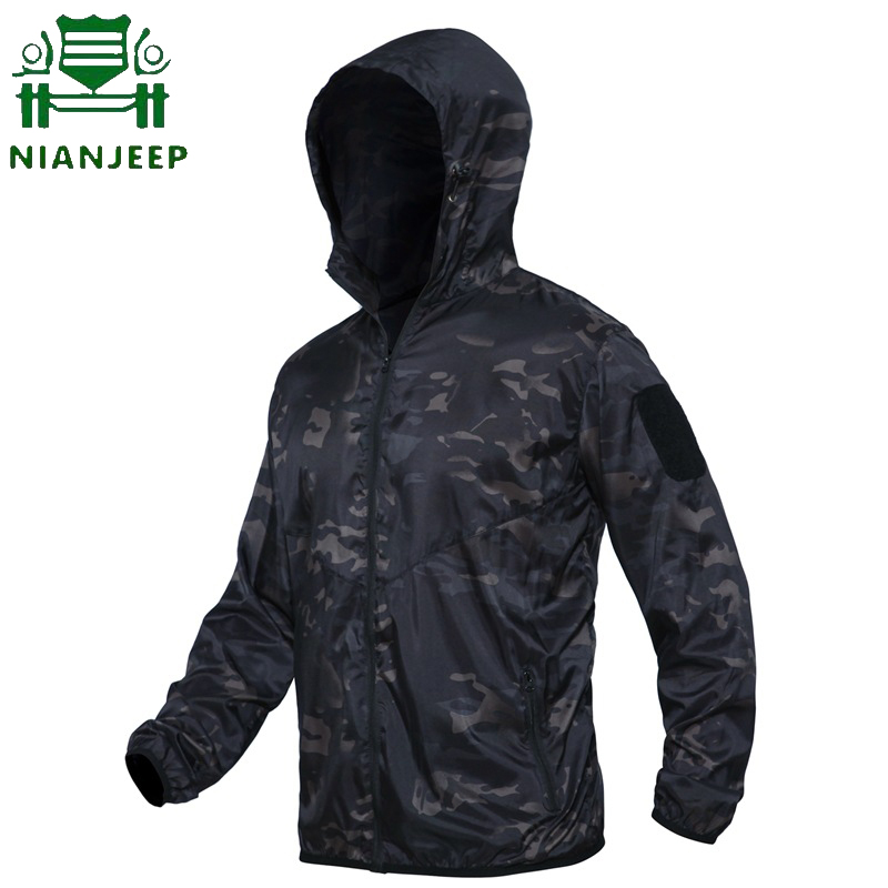 Military Jacket Tactical Camo Summer Windbreaker Lightweight Male Breathable 3XL Thin