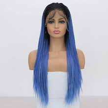 Харизма Омбре синий Синтетический Плетеный парик для женщин термостойкие синтетические кружева спереди микро косы парик с детскими волосами