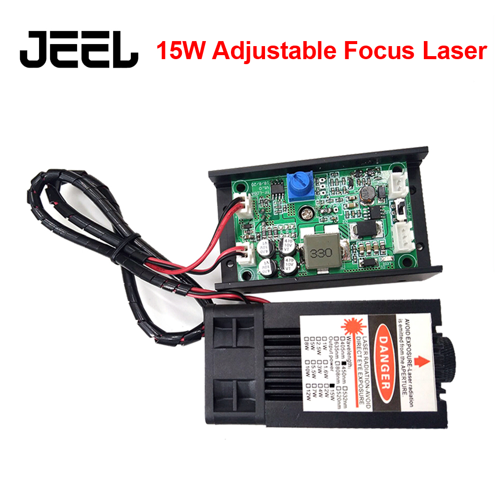 DIY Laser Machine Focus AdjustableTTL/PWM 15W 450nm Laser Head 15000mW Blue Laser Module Laser Cutter For CNC Engraving Machine