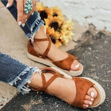 Litthing Women Sandals Gladiator Peep Toe Buckle Design Roman Sandals Women Flat Shoes Summer Beach Ladies Shoes Sandals(China)