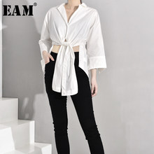 [EAM] Women White Asymmetrical Bandage Blouse New V-collar Long Sleeve Loose Fit Shirt Fashion Tide Spring Autumn 2019 JZ3130(China)
