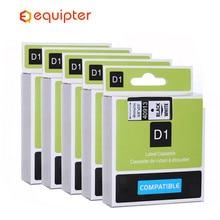 5pcs Black on white 40913 label tapes compatible dymo d1 label printers 9mm*7m label ribbon cassette for dymo label manager 160
