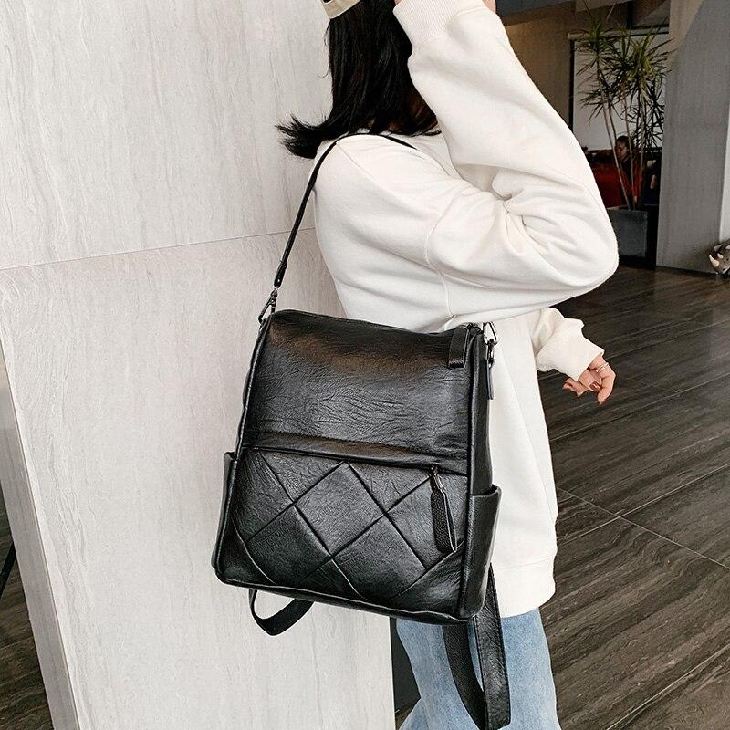 Image 4 - Fashion Women Backpack High Quality Soft Leather School Backpacks for girls Female Casual Large Capacity Vintage Shoulder BagsBackpacks   -