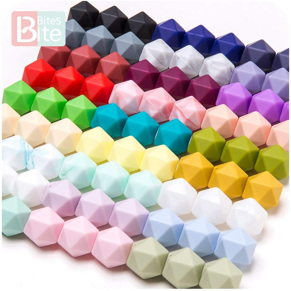 Baby Necklace-Accessories Beads Gifts Octagon Silicone Nurse Food-Grade DIY 14mm 10pc