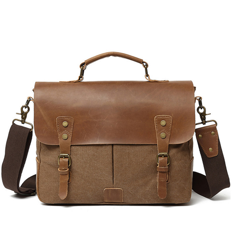 Men's Shoulder Bag Canvas Bag Laptop Handbag Casual Briefcase Retro Leather MEN'S Bag Hot Selling