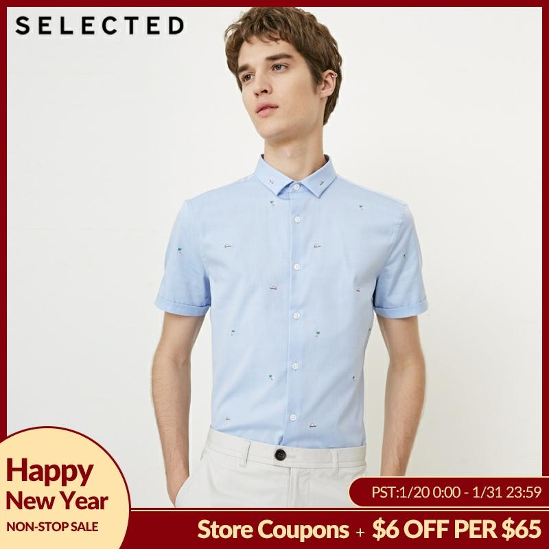 SELECTED Men's Summer 100% Cotton Embroidered Slim Fit Short-sleeved Shirt S|418204547