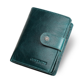 Contact's Genuine Leather Wallets Women Men Wallet Short Small Rfid Card Holder Wallets Ladies Red Coin Purse Portfel Damski 8