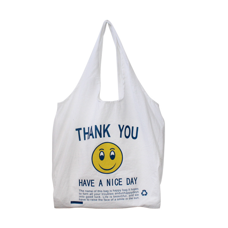 2019 New Shoulder Bag Cotton And Linen Thin Bag Large Capacity Smiley Face Package Foldable Reusable Shopping Bag Back To School
