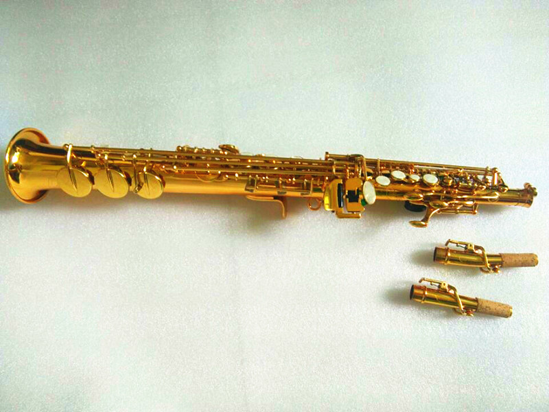 Soprano Saxophone SAX Bb Brass Lacquered Gold Body and Keys with Case Strap Mouthpiece Woodwind Instument