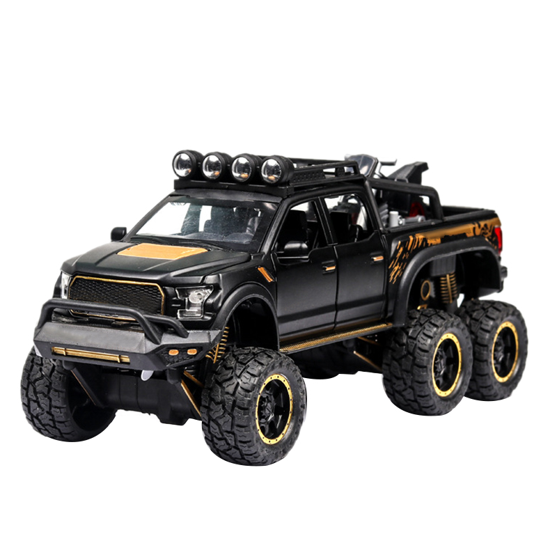 1:32 Pull Back SUV Toy Car, Alloy Toy Car With Sound And Light, Door Can Be Opened, Black