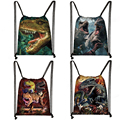 Сумка на шнурке с принтом динозавра для женщин и мужчин, сумка для хранения, рюкзак для девочек и мальчиков-подростков, дорожные сумки, Детск...