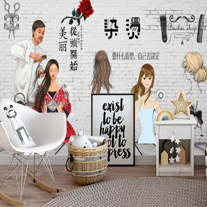 3D Retro Nostalgic Stereo Hair Salon Wallpaper Mural Hair Dressing Barber Shop Wall Wallpaper Salon-Style Figure