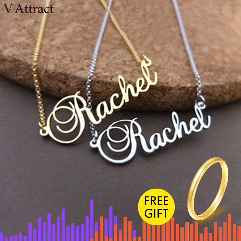 Stainless Steel  Necklace Personalized  Name Rachel