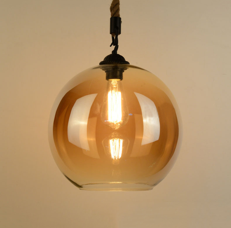 Loft Vintage Retro Industrial Glass Ball Hemp Rope Pendant Lights E27 AC110V 220V Lamp For Dining Room Living Room Cafe Bar Shop