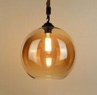 Loft Vintage Retro Industrial Glass Ball Hemp Rope Pendant Lights E27 AC110V 220V Lamp For Dining Room Living Room Cafe Bar Shop