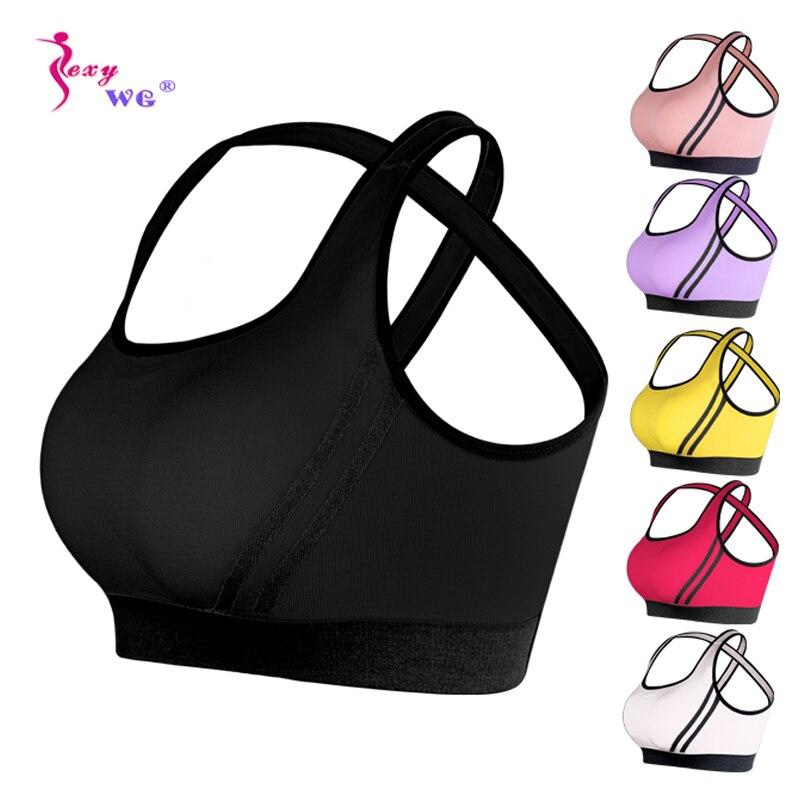 SEXYWG Woman Girls Sports Bra Cross Back Running Gym Vest Top Female Fitness Active Clothing Seamless Brassiere Yoga Sport Bra