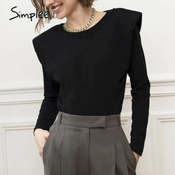 Simplee Fashion black shirt top women Autumn winter O-neck long sleeve shirt female High street style slim fit top office ladies