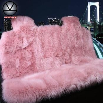 KAWOSEN Faux Fur Warm Car Back Seat Cover Artificial Plush Black Cute Car Rear Seat Covers Fundas Coche Asiento Universal LFFS02