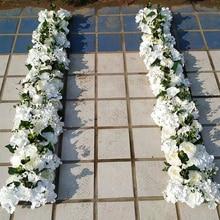 Роскошная Свадебная дорога, цитированные цветы, Шелковая Роза, пион, Гортензия, сделай сам, арочная дверь, ряд цветов, окно, Т-станция, свадебное украшение, 50 см
