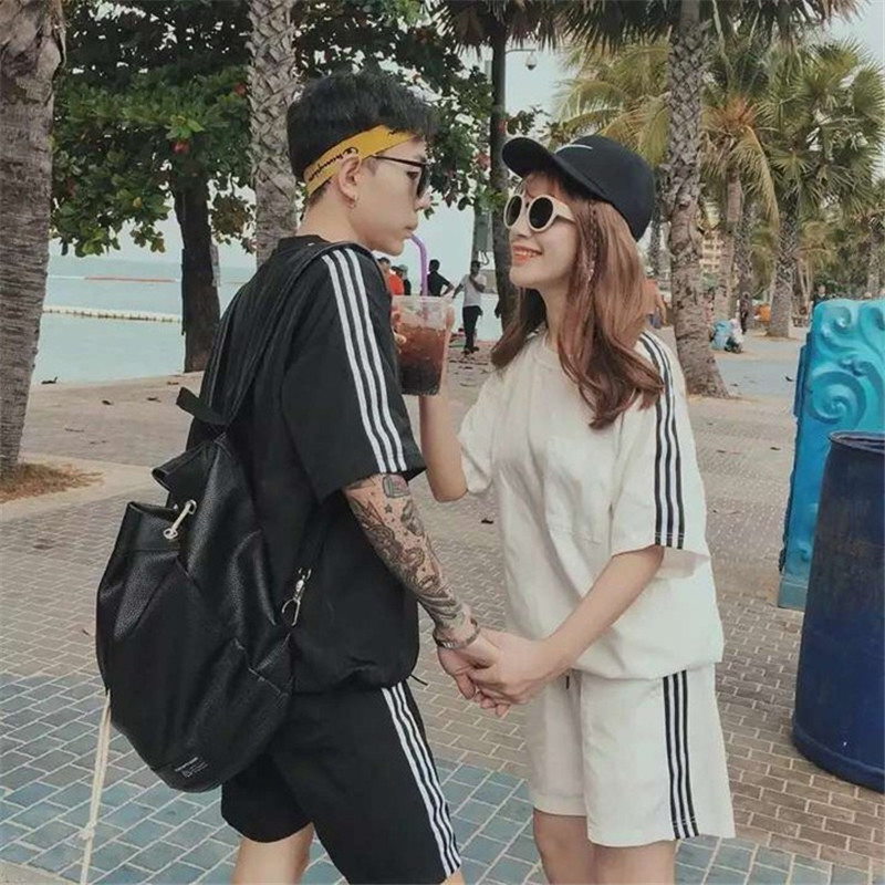 Couple Clothes 2018 Summer New Style Korean-style Sports Clothing Men And Women Set Students Business Attire Short Sleeve T-shir