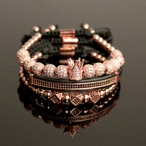Image 2 - 3pcs/Set Hip Hop Gold Crown Bracelets 8MM Cubic Micro Pave CZ Ball Charm Braided Braiding Man Luxury Jewelry Pulseira Bileklik