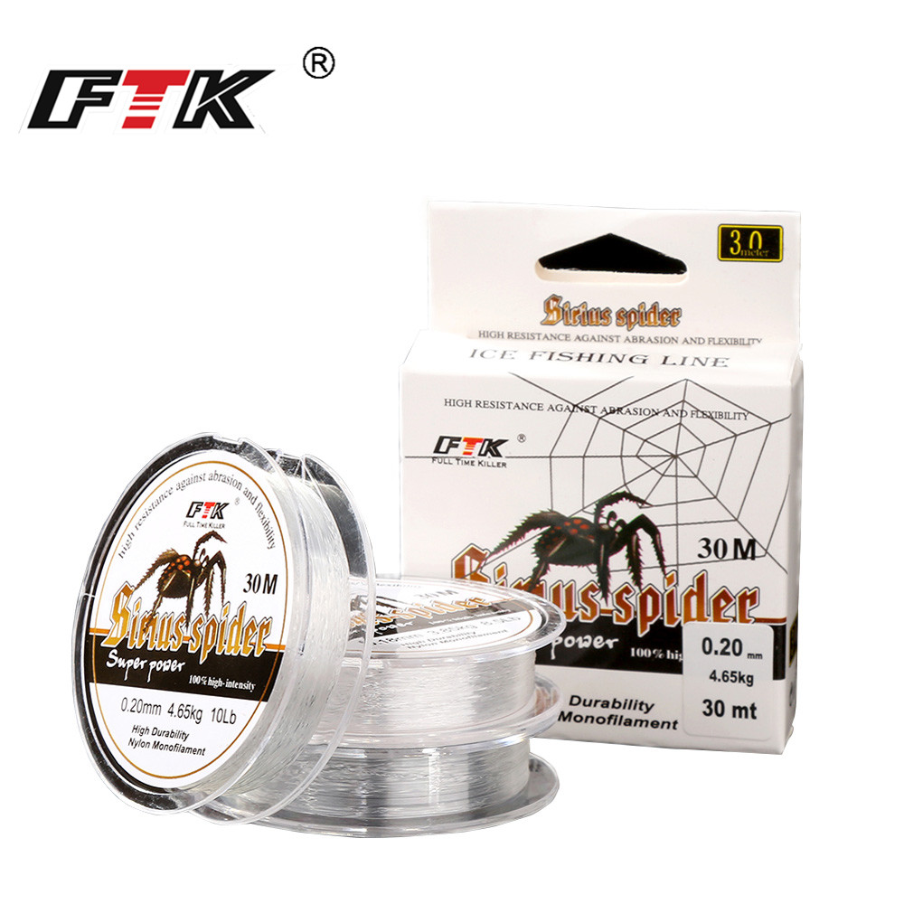 FTK  New Ice Fishing Line 100% Nylon Lines 30M DIA/MM 0.08mm-0.25mm 2.9-12.5LB 1.3-5.7kg For Winter Transparent