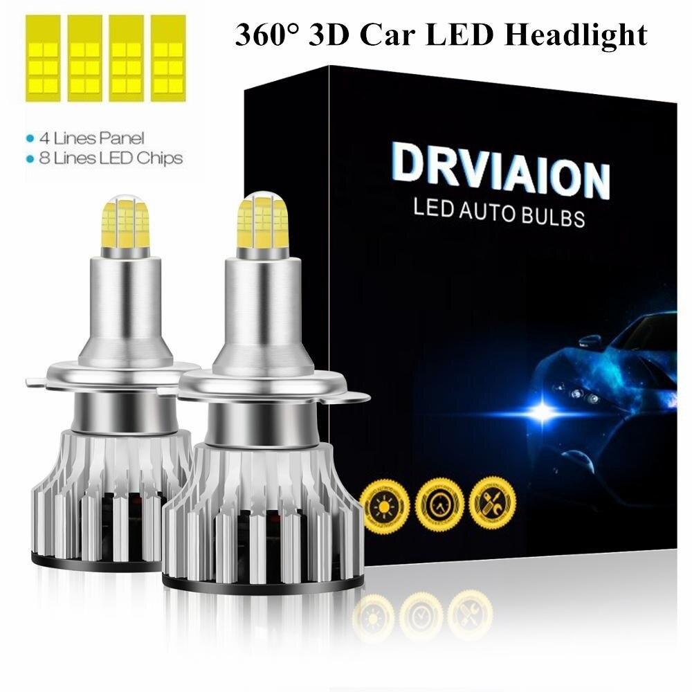 2 pces h1 led h7 20000lm h8 h9 h11 led faróis lâmpadas farol do carro 8 lados 200w 3d alta potência canbus 360 graus auto lâmpada