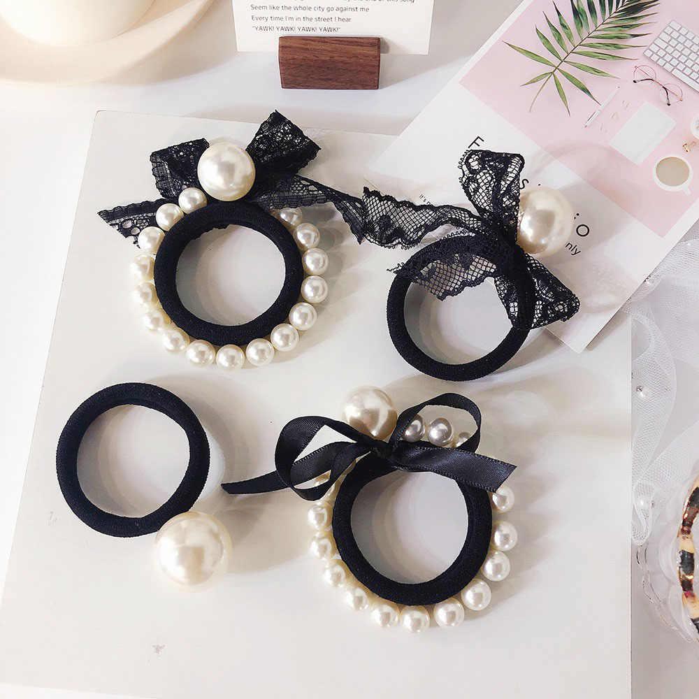 Women Girls Bow knot Ribbon black Elastic Hair Band Korean Style Lace Imitation Pearls Hair Ties Ropes Ponytail Holder