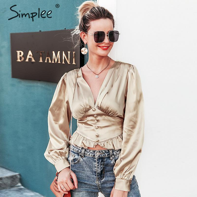 Simplee Sexy Satin V-neck Women Blouse Shirt Puff Sleeve Ruffled Feminina Top Shirt Vintage High Waist Ladies Autumn Shirt