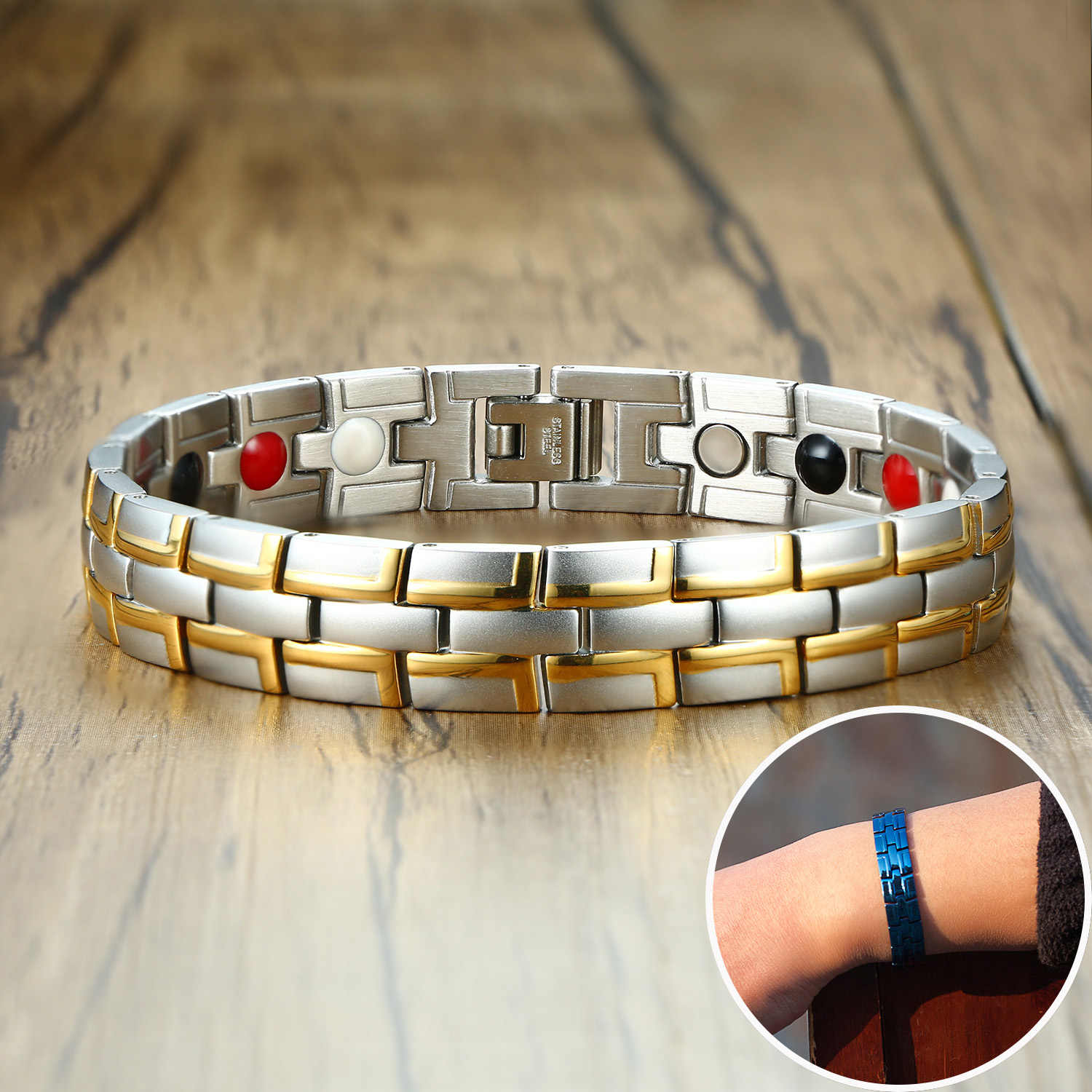 Health Magnetic Bracelet Male Stainless Steel Wrist Band Magnetic Bracelet Men Hand Chain Energy Bracelets for Men Dropshipping