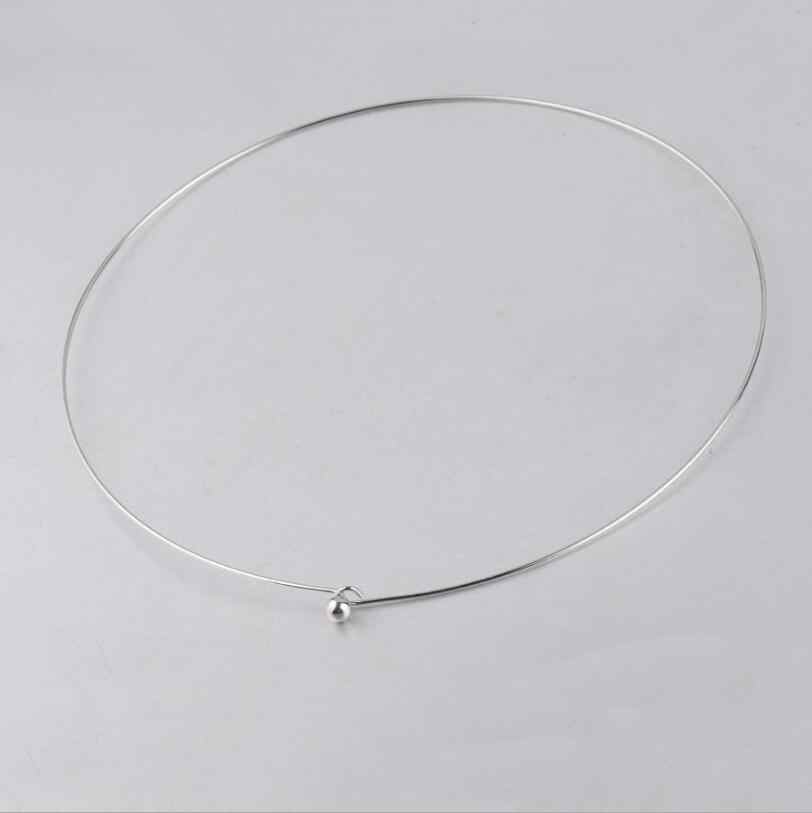 10pcs/lot 1mm Thickness Stainless Steel Wire Necklace Round Cable Circle Torques Collar Choker For DIY Jewelry Making