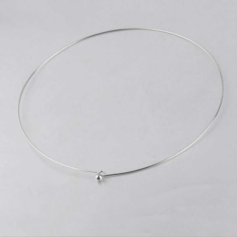 10pcs/lot <font><b>1mm</b></font> Thickness Stainless Steel Wire Necklace Round <font><b>Cable</b></font> Circle Torques Collar Choker For DIY Jewelry Making image