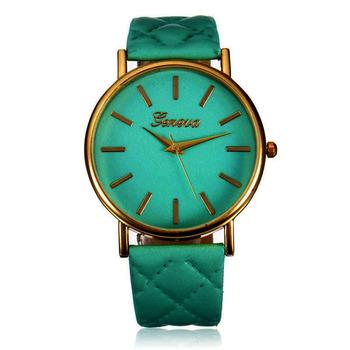 Zegarki damskie Geneva Fashion Green zegarki skórzany pasek zegarki kwarcowe Casual Ladies zegarki Zegarek Damski dames horloges tanie i dobre opinie WoMaGe QUARTZ Klamra STAINLESS STEEL Nie wodoodporne Moda casual 20mm ROUND 10mm Brak Akrylowe zegarek damski 164291 22 5cm