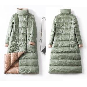 Image 5 - Veste dhiver en duvet de canard Ly Varey Lin pour femme, manteau Long et épais à carreaux Double face grande taille