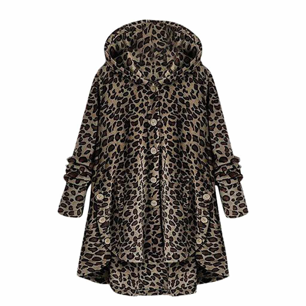 Зимние леопардовые пальто больших размеров, пальто на пуговицах, флисовое Асимметричное пальто с капюшоном, Свободное пальто оверсайз, теплая верхняя одежда, пальто для женщин, #907