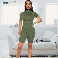HAOYUAN Two Piece Set Tracksuit Women Summer Clothes Short Sleeve Top