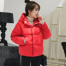 KMVEXO 2019 Korean Style Women Winter Solid Thick Jacket Hooded Breasted Buttons Cotton Padded Coat Short Outwear Parka
