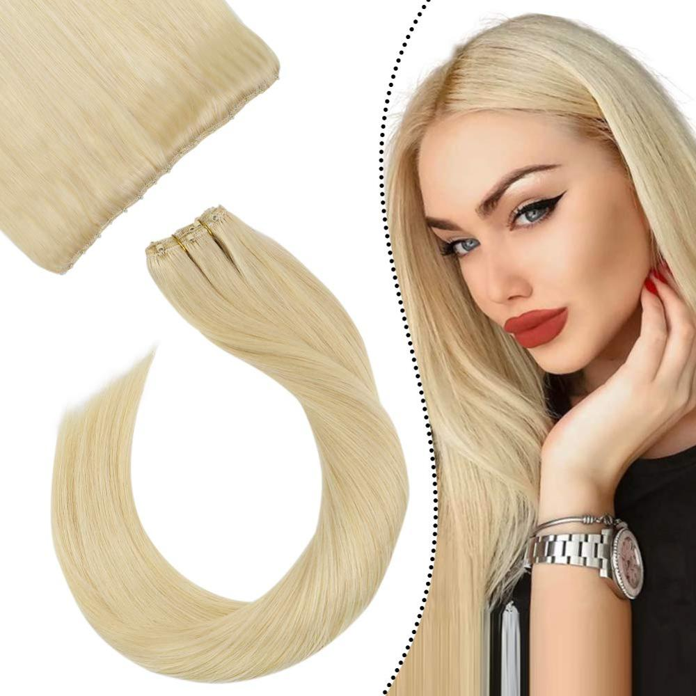"Ugeat micro grânulos trama extensões de cabelo humano cabelo loiro cor #613 trama de cabelo 10 ""largura 14-24 machine máquina remy cabelo 50 g/set"