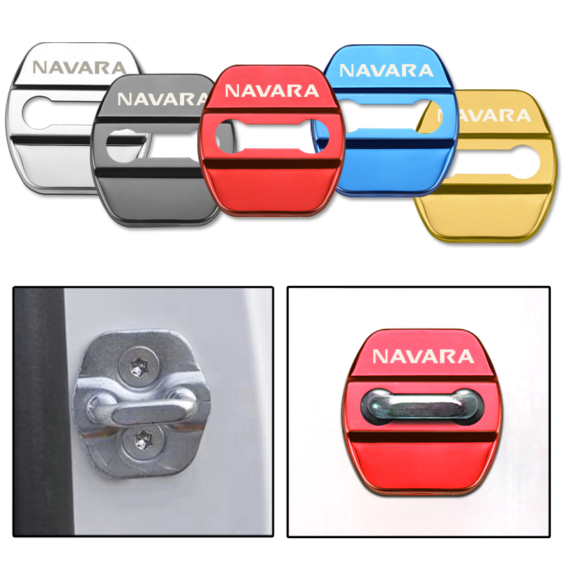4PCS Car Door Lock cover Protect Buckle Cover Latch Stop Anti Rust Car accessories For Nissan Navara d40 d22 d23 np300