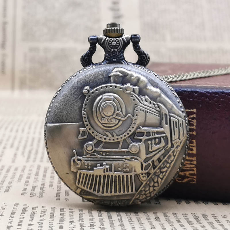 Fashion Bronze Train Pattern Cover Design Quartz Pocket Watch Necklace Pendant Chain Unisex Gifts