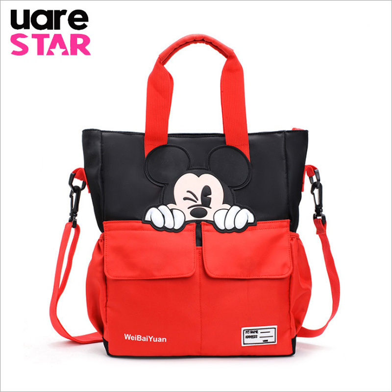 2019 New Disney Fashion Trend Handbags Casual Student Bag Mickey Mouse Portable Canvas Bag Handcuffs Bag Lunch Box Bag