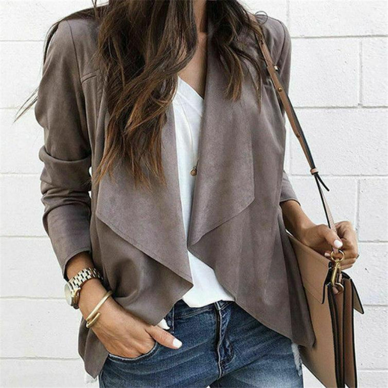 2020 Autumn New Women Jackets Ladies Casual Jackets Long Sleeve Waterfall Cardigan Loose Coat Open Front Suede Jacket Hot Sell