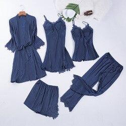 Chemise de nuit à col en v pour femmes, ensemble de nuit, bleu marine, 5 pièces, pyjama en dentelle, bretelles, vêtements de nuit, salon, sans manches