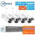 MOVOLS H.265 Беспроводная система видеонаблюдения 8CH 1080P Tuya NVR 2MP наружная Водонепроницаемая Wifi IP камера безопасности Аудио Видео комплект видеон...