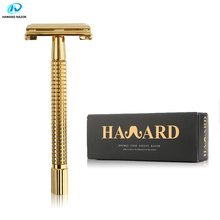 HAWARD Razor Men's Double Edge Safety Razor Luxurious Gold Butterfly Razor Classic Manual Hair Removal Shaver With 10 Blades